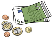 Zeichnung: Geldscheine und Münzen
