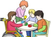 Zeichnung: Kindergartengruppe am Tisch