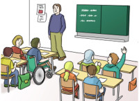 Zeichnung: Klassenzimmer mit Schulkindern und Lahrer