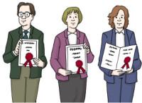 Zeichnung: Drei Menschen mit Urkunde