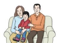 Zeichnung: Familie - Mutter, Vater, Kind