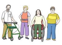 Zeichnung: Menschengruppe- alt und jung