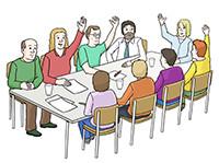 Zeichnung: Menschen am Tisch bei einer Abstimmung