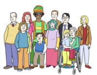 Zeichnung: Gruppe von Menschen