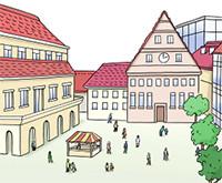 Zeichnung: Stadtplatz mit Häusern und Brunnen