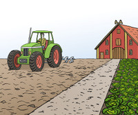 Zeichnung: Bauernhof mit Traktor