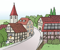 Zei8chnung: Dorfstraße mit Fachwerkhäusern