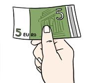 Zeichnung: Hand mit 5-Euro-Schein