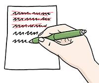 Zeichnung: Ein Gesetzesblatt wird geschrieben. Die Hand führt einen Bleistift über Papier