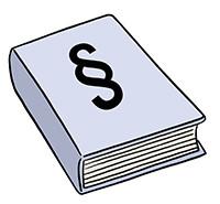Zeichnung: Ein Gesetzbuch mit dem Paragrafenzeichen auf dem Deckblatt