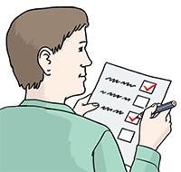 Zeichnung: Ein Prüfer mit Rotstift und Checkliste