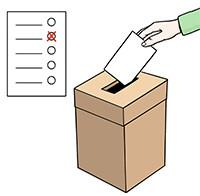 Zeichnung: Ein Stimmzettel wird in eine Wahlurne geworfen