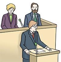 Zeichnung: Ein Redner im Bayerischen Landtag