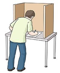 Zeichnung: Ein Mann in der Wahlkabine