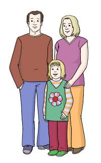 Zeichnung: Familie - Mutter, Vater und Kind
