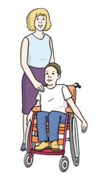 Zeichnung: Mutter mit Kind im Rollstuhl