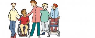 Comic-Gruppenbild von Menschen im Rollstuhl