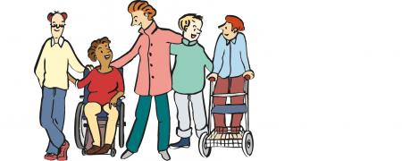 Zeichnung: Comic-Gruppenbild von Menschen im Rollstuhl
