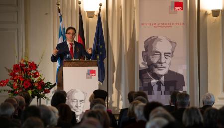 SPD-Landesvorsitzender Florian Pronold spricht beim Wilhelm-Hoegner-Preis für EU-Parlamentspräsident Martin Schulz