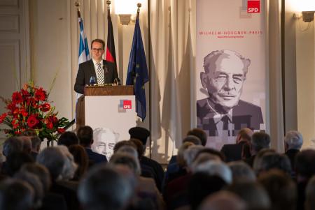 Markus Rinderspacher spricht beim Wilhelm-Hoegner-Preis für EU-Parlamentspräsident Martin Schulz