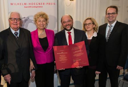 Wilhelm-Hoegner-Preis für EU-Parlamentspräsident Martin Schulz (Mitte), mit Hans-Jochen Vogel, Laudatorin Gesine Schwan, Natascha Kohnen und Markus Rinderspacher (v.l.)