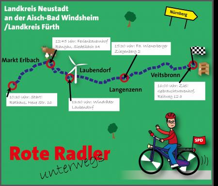 Radltour Karte Etappe 4 Mittelfranken