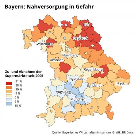 BR-Karte: Entwicklung Lebensmitteläden in Bayern