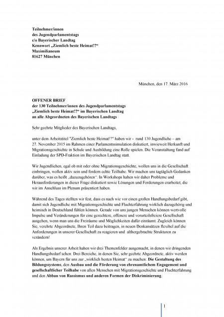 Jugendparlament 2015 - Offener Brief - Seite 1