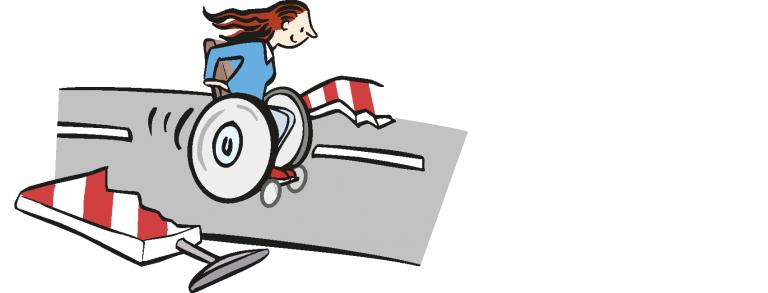 Comicbild einer Rollstuhlfahrerin, die eine Schranke durchbricht