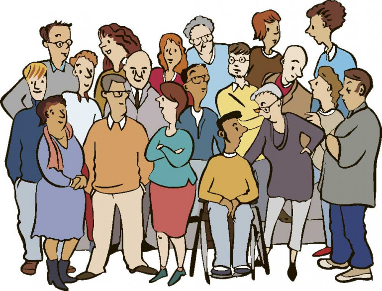 Comic-Bild mit vielen Menschen