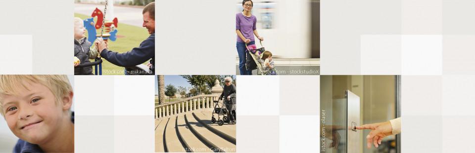 Bildmosaik: Menschen Mit Behinderung, Mutter mit Kinderwagen, Rolli vor der Treppe