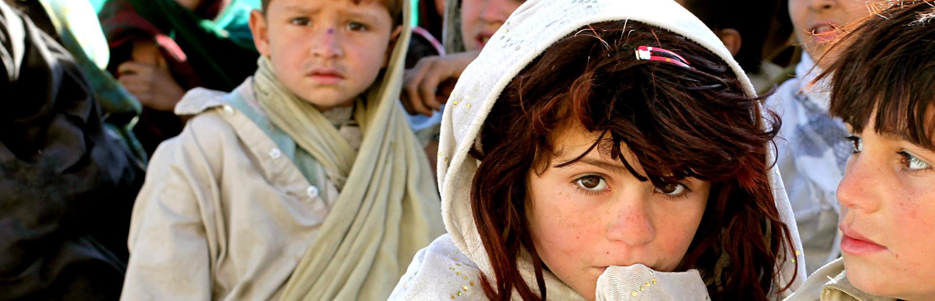 Flüchtlingskinder in einem Erstaufnahmelager