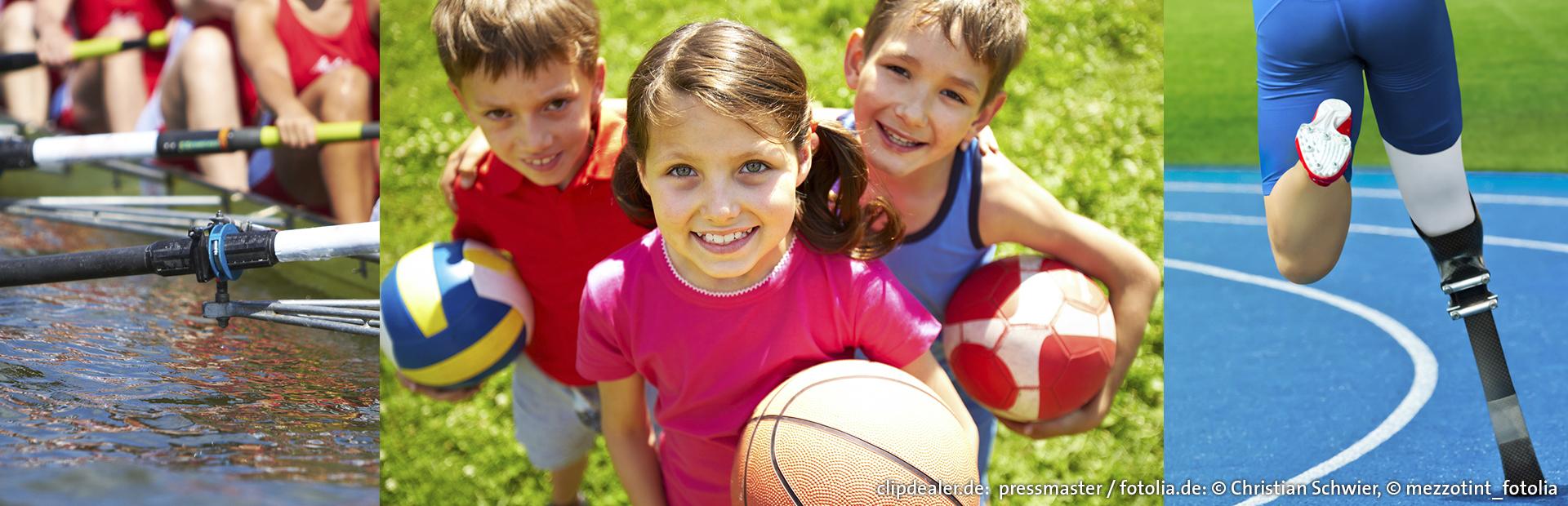 Fotomontage: Bilder aus Erwachsenen-, Kinder- und Behindertensport